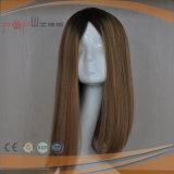 Virgen humano Remy Seda cabello oscuro superior en el enraizamiento de las mujeres peluca (PPG-L-0636)