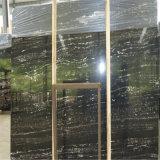 中国の白い静脈が付いている銀製のドラゴンの黒の大理石の平板