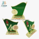 記念品のための試供品の合金の緑のエナメルの昇進メダルトロフィ