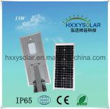 15W tout-en-un à énergie solaire Rue lumière LED intégrée