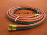 Ligne jumelle boyau de soudure, boyau de PVC d'acétylène de l'oxygène