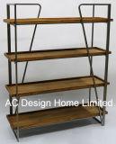 4 Уровень старинной Vintage декоративные деревянные и металлические книжной полке