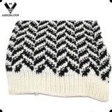 Комплект Beanie шарфа картины способа связанный Herringbone теплый