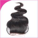 Unverarbeitete Spitze-Schliessen-lose Wellen-indisches Jungfrau-Haar