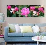 3 Panneaux Murale Art Peinture à l'huile Lotus Peinture Décoration intérieure Impression sur toile Photos pour le salon Encadré Art Mc-262