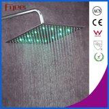 Fyeer 12 polegadas de cabeça de chuveiro escovada ultrafinas LED chuveiro superior