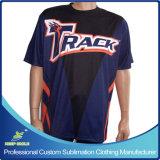 A camisa ostentando de rolamento personalizada do Sublimation T com projeta