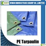 Tissu PE tissé pour parasol, bâches stratifiées de film PE, bâche de rouleau PE avec stratifié bleu