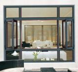 Guichet en aluminium en bois rouge de tissu pour rideaux de qualité avec l'écran d'acier inoxydable (ACW-038)