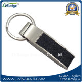 In lega di zinco su ordinazione con il cuoio Keychain del metallo