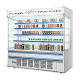 Supermercado frente aberta bebida fruto do Resfriador da Caixa de exibição