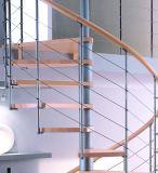 Горячий спираль стальной конструкции из дерева лестницы экономит рабочее пространство
