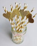 Corazón de oro pajitas de papel, pajitas de parte de oro