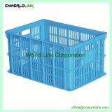 Transporte de plástico apilables y encajables cajas de almacenamiento con mango de acero