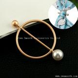 Figura geométrica Broche Perla Pin botón Circular bufanda chal Accesorios