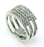Rhodium van de Prijs van de fabriek plateerde de Zilveren Levering voor doorverkoop van Ring 925 (R10038)