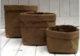 Bolsa de papel lavable marrón manejar bolsa de papel de la bolsa de comestibles