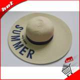 Chapéu largo das mulheres do chapéu da borda da palha de papel