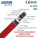 Cu / XLPE / Cts / PVC / Swa / MDPE, cabo de alimentação, 6,35 / 11 Kv, 3 / C (BS 6622)