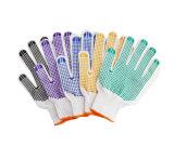 A palma colorida revestiu luvas pontilhadas PVC do algodão com o logotipo