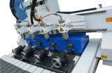 4 multi router di scultura di legno di CNC della testa 3D di asse con rotativo per il portello di falegnameria, cucina