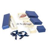 Fabricación de empaquetado de la caja del rectángulo de la joyería azul del regalo con el arqueamiento de la cinta