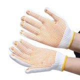 Трикотажные хлопка пунктирной перчатки желтого цвета точек из ПВХ для рук с обеих сторон