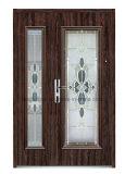 Oriente Médio, Europ, EUA Francês de Aço de vidro temperado porta exterior de porta a porta de segurança (EF-G002)