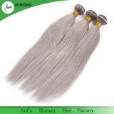 Prolonge non transformée de cheveux humains du cheveu gris droit soyeux chaud fou 100% de vente