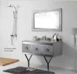 Cabinet reflété par salle de bains blanche de conception de gravure en relief de mode d'acier inoxydable de ruban nouvelle (YB-914)