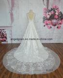 V Applique шнурка платья венчания сбывания шеи 2016 платье венчания поезда горячего длиннее