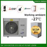 Prtugalかブルガリア-25cの冬の床暖房の家+50cの熱湯12kw/19kw/35kw低い包囲されたのための氷のEviの空気ソースヒートポンプ無し
