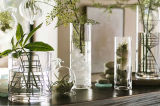 Decoração copo alto Jarras Forma cilíndrica Flower vaso de vidro