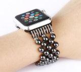 黒いビードのAppleの腕時計のための取り外し可能なラインストーンの時計用バンド