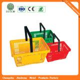 Panier de paniers d'épicerie en plastique de roulement de roue (JS-SBN07)