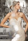 Robe de mariage nuptiale de vêtement de vêtements de sirène perlée sans bretelles de lacet (8172)