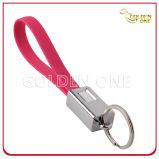 Promoção de qualidade superior Round Shape Hot Stamped Leather Key Ring
