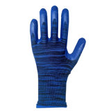 guanti rivestiti della gomma spugna del poliestere di resistenza di abrasione 13G