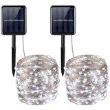 Lampada calda autoalimentata solare dell'indicatore luminoso leggiadramente della stringa del collegare di rame 100LED LED di bianco 12m