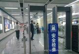 金属探知器のゲートを通る大きいLCDスクリーンの歩行