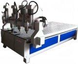 Macchina del router di CNC Carver di falegnameria di molte teste per la mobilia dell'incisione con la Tabella di vuoto e rotativa