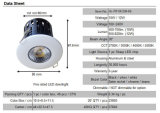 IP65浴室10With12W鋭いDimmableの穂軸の火評価されるLED Downlight