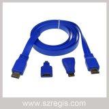 Мужчина к мыжскому плоскому кабелю HDMI с миниым микро- переходникой