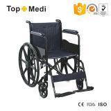 Behindertes Krankenhaus PU-Sitz-Mag-Rad-faltender manueller Stahlrollstuhl