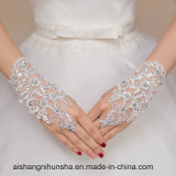 レースのFingerless手袋と結婚している短い花嫁の手袋のFingerless女性