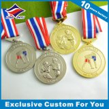 Preiswerter Sport-antike Silbermedaille mit Nizza Farbband-und des Zoll-3D Firmenzeichen