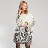 Suéter com excesso de mulheres com soltas Imprimir Camisolas e pullovers de ligação direta no Outono Inverno