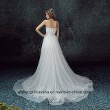 Robe de mariage élégante sans bretelles d'avant arrière détachable court de dos de long