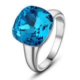 China de aleación de joyas de cristal de Aguamarina Cordón dedo el anillo con piedra grande