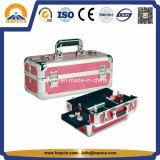 Caisses noires/bleues roses portatives élégantes de beauté avec 2 plateaux (HB-3209)